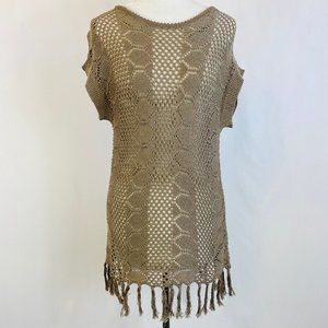 Joseph A Open Crochet Sweater Cover Up Fringe